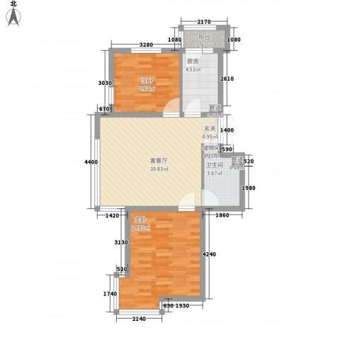 三江紫香园2室1厅1卫1厨74.00㎡户型图