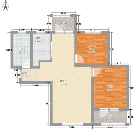 美域新城2室1厅1卫1厨95.00㎡户型图