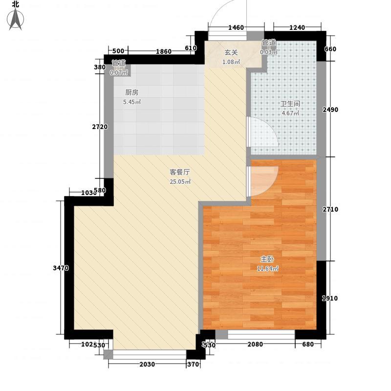 亚泰樱花苑58.00㎡高层F户型1室1厅1卫