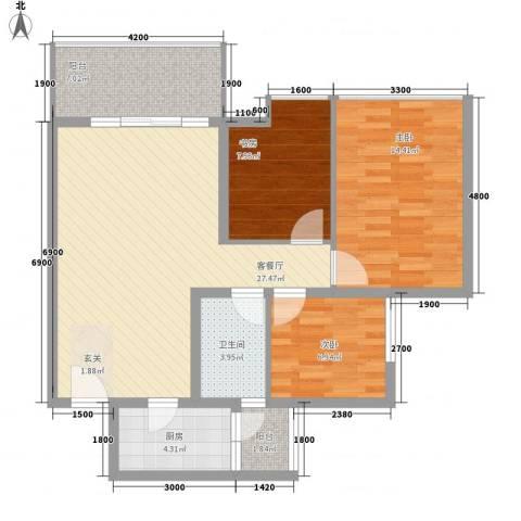 海燕新村3室1厅1卫1厨105.00㎡户型图