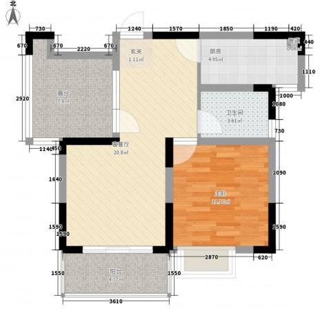 利港银河新城1室1厅1卫1厨85.00㎡户型图
