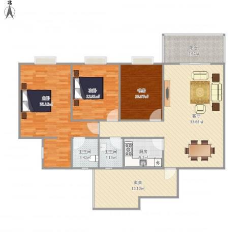 学府芳邻3室1厅2卫1厨151.00㎡户型图