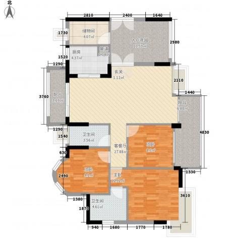 华轩居3室1厅2卫1厨96.48㎡户型图
