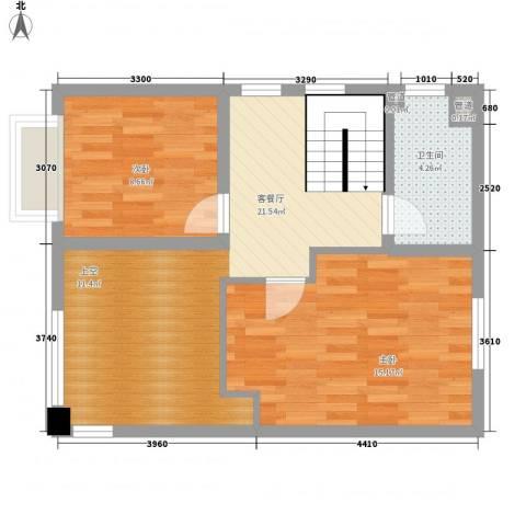公园道1号2室1厅1卫0厨71.00㎡户型图
