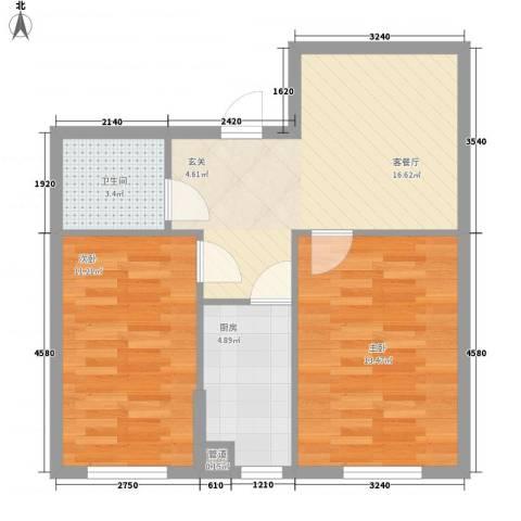 三江紫香园2室1厅1卫1厨70.00㎡户型图
