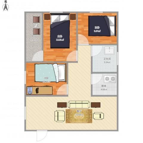 世纪广场3室1厅1卫1厨105.00㎡户型图