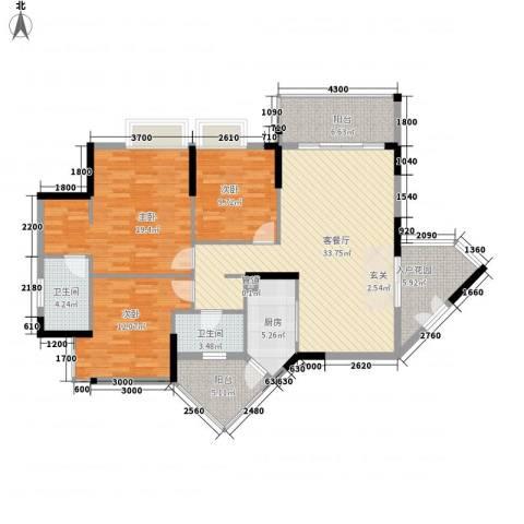 恒捷・逸林首府3室1厅2卫1厨149.00㎡户型图