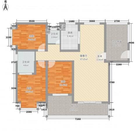公园道1号3室1厅2卫1厨153.00㎡户型图