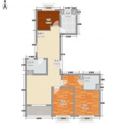 新湖青蓝国际3室1厅2卫1厨127.00㎡户型图