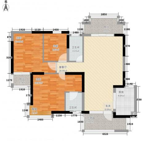 棕榈泉国际花园3室1厅2卫1厨123.00㎡户型图