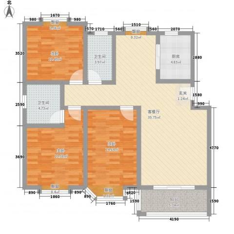 汇源华庭3室1厅2卫1厨136.00㎡户型图