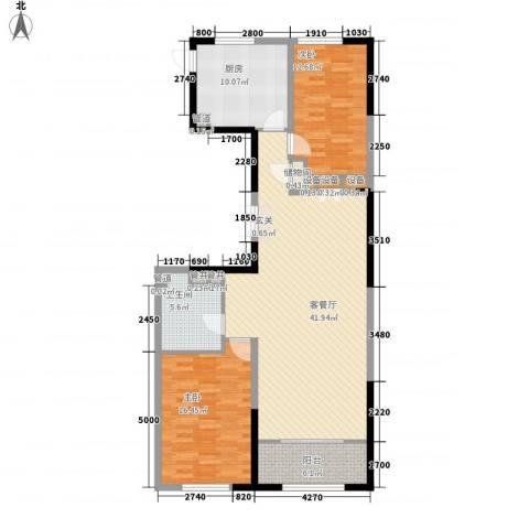 卓信EHO国际社区2室1厅1卫1厨133.00㎡户型图