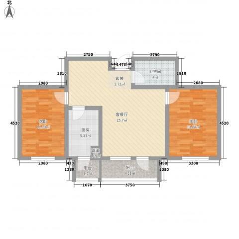 美域新城2室1厅1卫1厨96.00㎡户型图