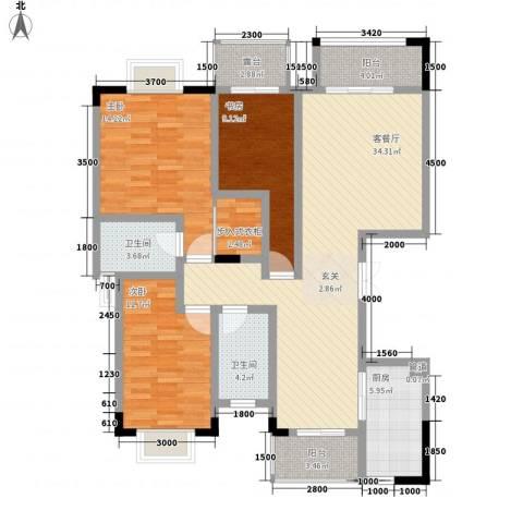 拓新香国城一期3室1厅2卫1厨128.00㎡户型图