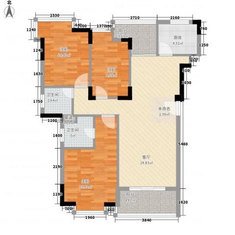 怡景丽苑3室1厅2卫1厨115.00㎡户型图