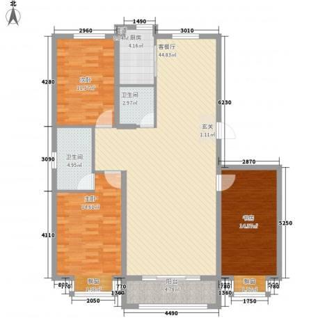 燕鑫花苑3室1厅2卫1厨138.00㎡户型图