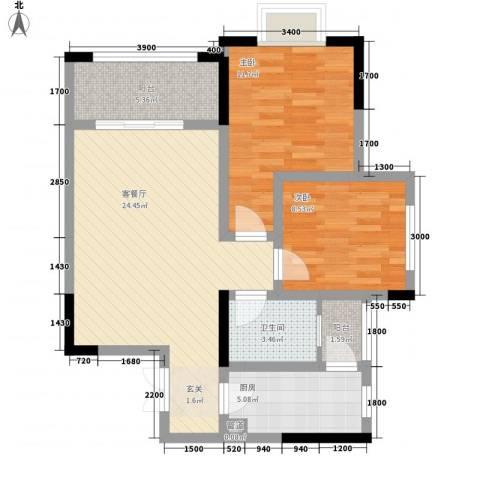 拓新香国城一期2室1厅1卫1厨85.00㎡户型图