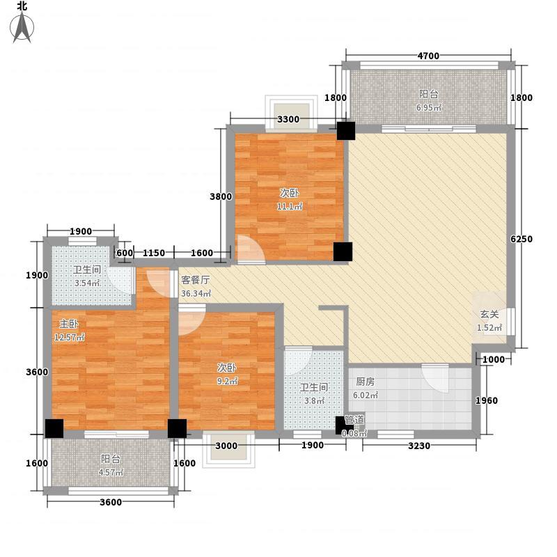 阳光明居12.00㎡B01户型3室2厅2卫1厨