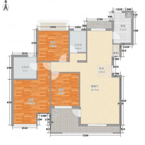 汇润花园3室1厅2卫1厨141.00㎡户型图