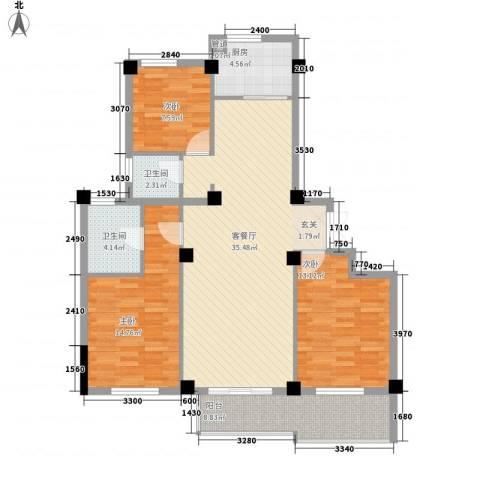 东方不夜城3室1厅2卫1厨102.40㎡户型图