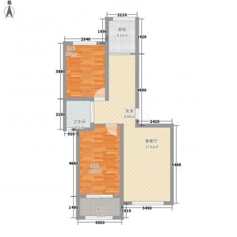 燕鑫花苑2室1厅1卫1厨61.33㎡户型图