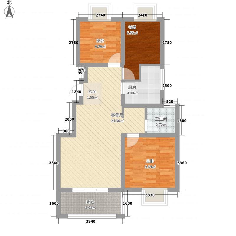 天润城85.85㎡十四街区A1户型3室2厅1卫1厨