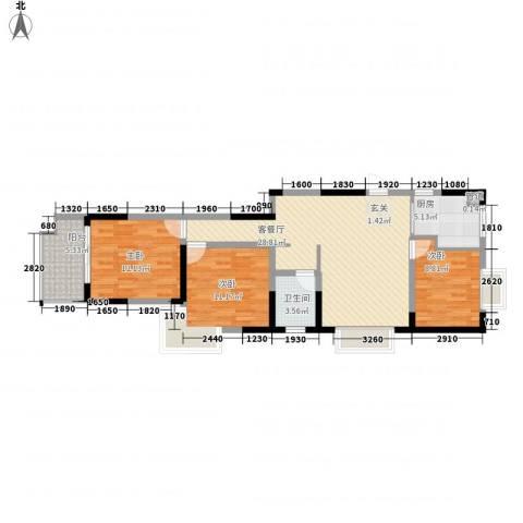 众兴华庭3室1厅1卫1厨105.00㎡户型图