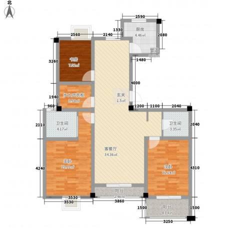 水岸人家3室1厅2卫1厨106.00㎡户型图
