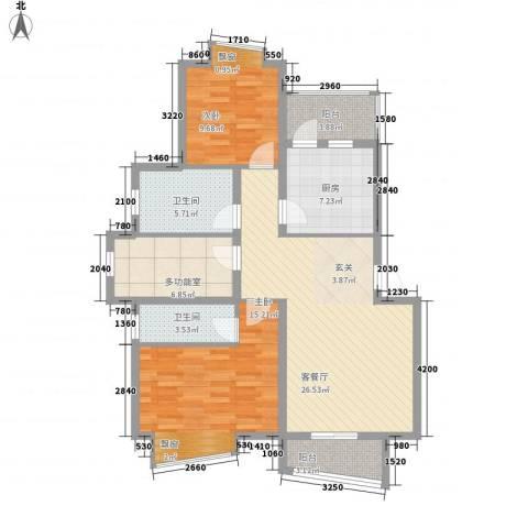 蓝天花园二期2室1厅2卫1厨117.00㎡户型图