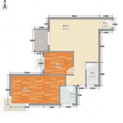 留芳声巷2室1厅1卫1厨68.00㎡户型图