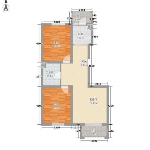 君海・朗郡2室1厅1卫1厨89.00㎡户型图
