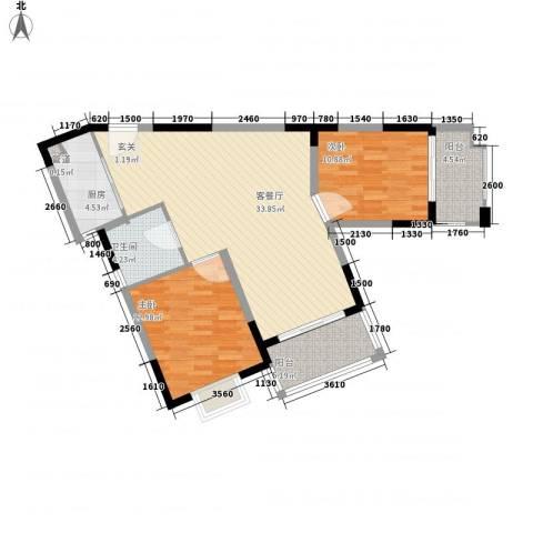 众兴华庭2室1厅1卫1厨108.00㎡户型图
