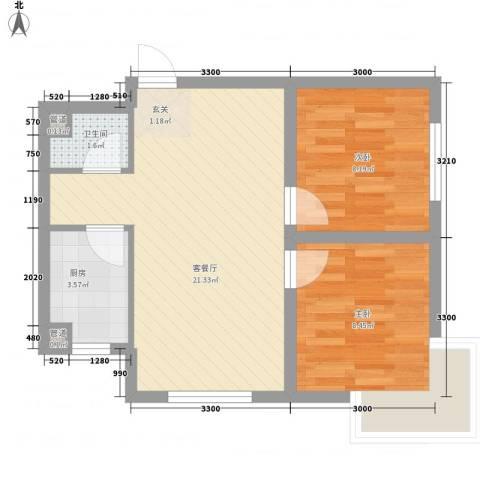 君海・朗郡2室1厅1卫1厨64.00㎡户型图