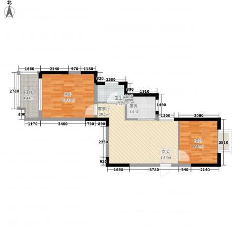 众兴华庭2室1厅1卫1厨77.00㎡户型图