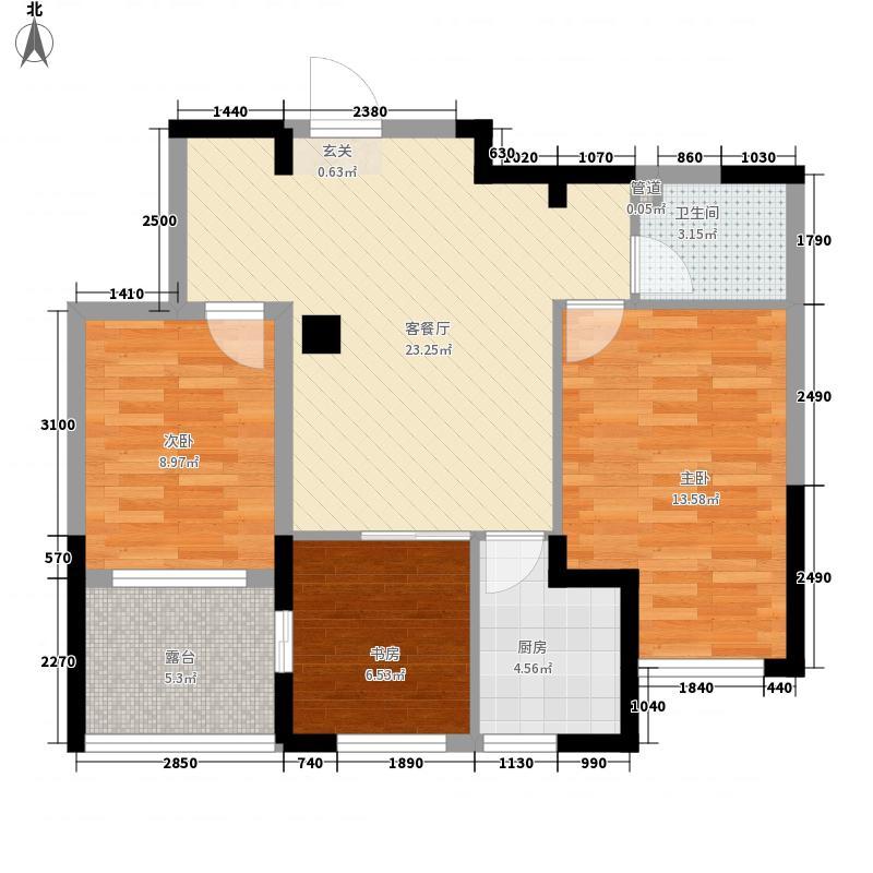 亚泰樱花苑87.00㎡08新品B户型3室2厅1卫