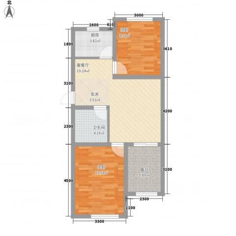 宝地城2室1厅1卫1厨74.00㎡户型图
