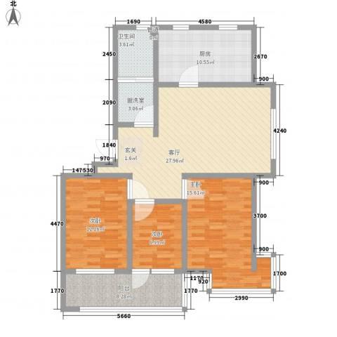 九龙山庄3室2厅1卫1厨128.00㎡户型图