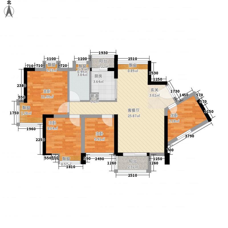 太阳雨家园88.00㎡1栋A、B户型4室2厅1卫1厨