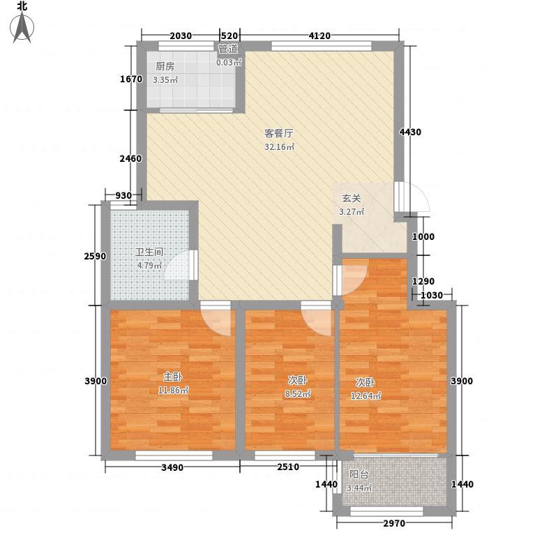 金猴环翠楼家园户型3室2厅1卫1厨