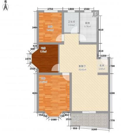 万事达小区3室1厅1卫1厨110.00㎡户型图
