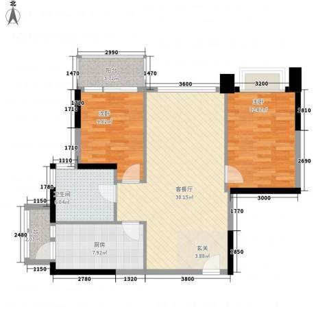 银湖山庄五期2室1厅1卫1厨92.00㎡户型图