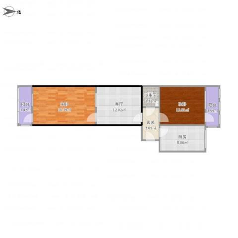 乐山小区2室1厅1卫1厨84.00㎡户型图