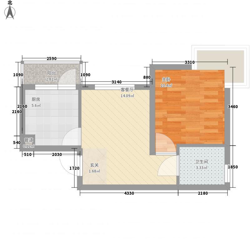 东兴寓城花园3-A(已售完)户型1室1厅1卫
