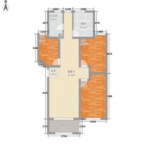 九龙山庄3室1厅1卫1厨118.00㎡户型图