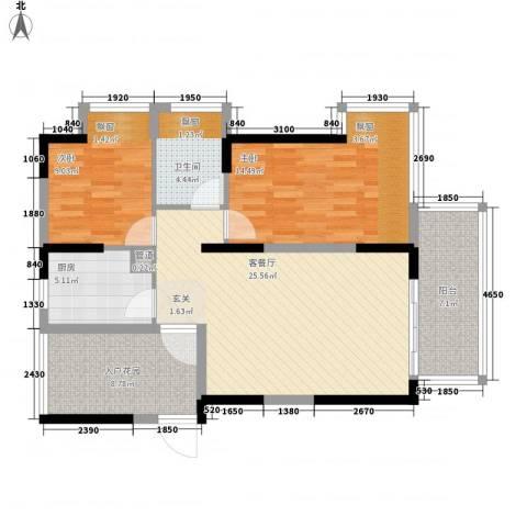 熙龙小镇2室1厅1卫1厨75.00㎡户型图