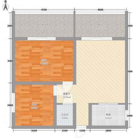 南天・太阳城2室1厅1卫1厨84.00㎡户型图