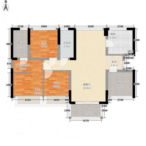 宏发上域3室1厅1卫1厨88.00㎡户型图