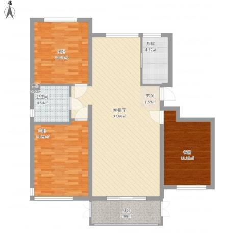 鼎盛新城3室1厅1卫1厨126.00㎡户型图