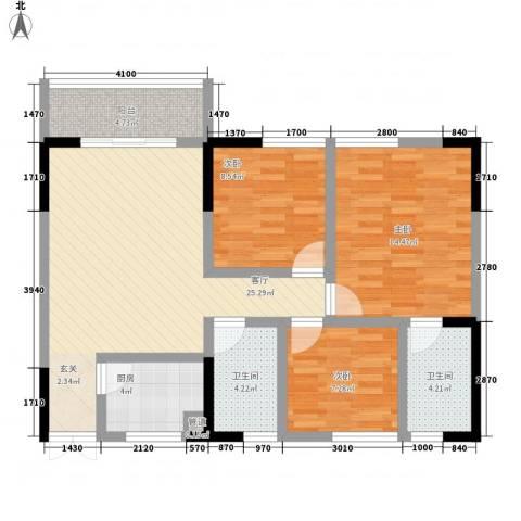 梨树新居3室1厅2卫1厨77.00㎡户型图