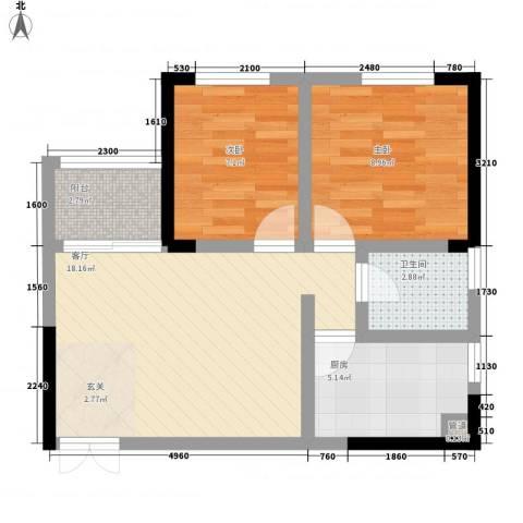 梨树新居2室1厅1卫1厨52.00㎡户型图